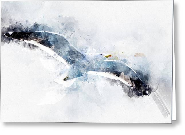 Seagull In Flight With Watercolor Effects Greeting Card