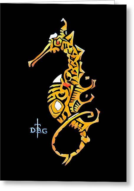 Seahorse Golden Greeting Card