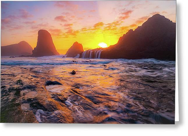 Seal Rock Beach Sunset Greeting Card
