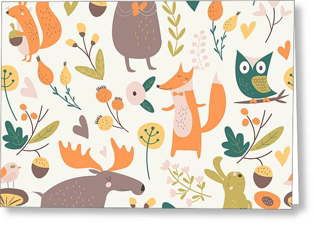 Seamless Autumn Forest Background With Greeting Card