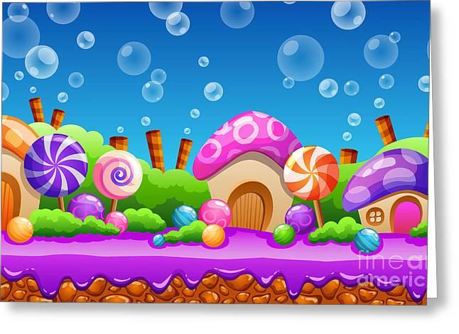 Seamless Cartoon Fairy Tale Landscape Greeting Card