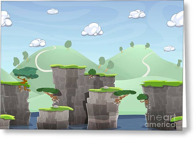 Seamless Cartoon Nature Landscape Greeting Card