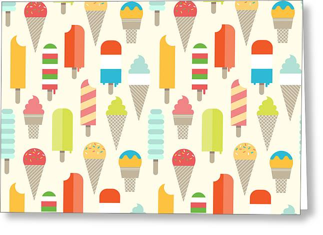 Seamless Colorful Ice Cream Pattern Greeting Card