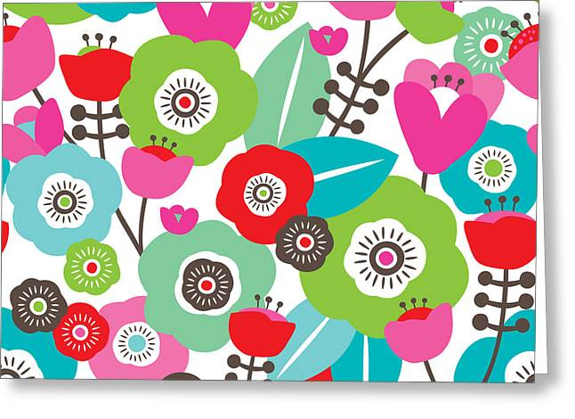 Seamless Colorful Spring Flowers Greeting Card