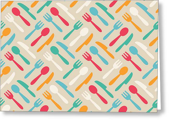 Seamless Cute Pattern With Color Greeting Card