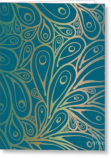 Seamless Doodle Peacock Feathers Pattern Greeting Card