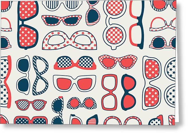 Seamless Fashion Eyeglasses Background Greeting Card
