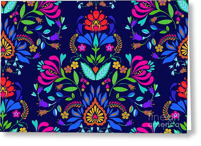 Seamless Floral Folk Pattern. Slavic Greeting Card