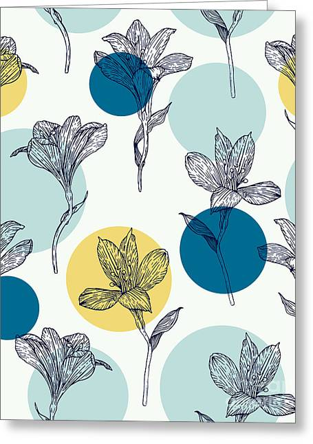 Seamless Floral Pattern. Pattern With Greeting Card