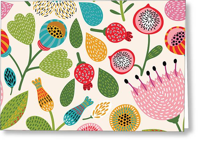 Seamless Floral Pattern Greeting Card
