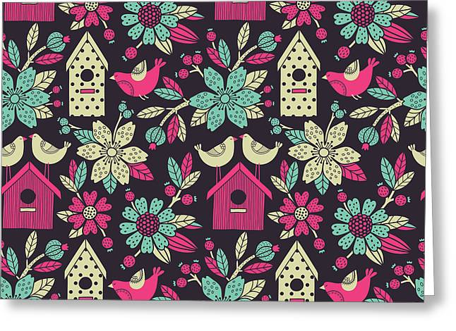 Seamless Floral Pattern With  Birdhouses Greeting Card by Tets
