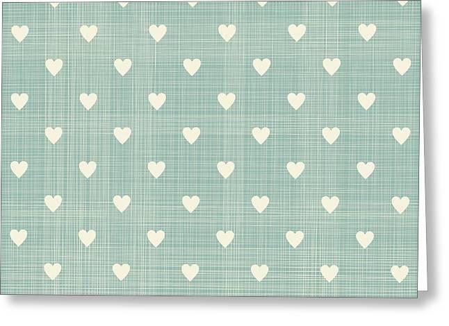 Seamless Hearts Polka Dot Pattern With Greeting Card