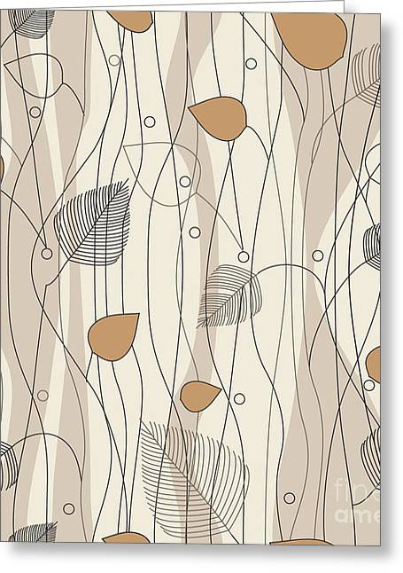 Seamless Leaves And Trees Pattern, On Greeting Card