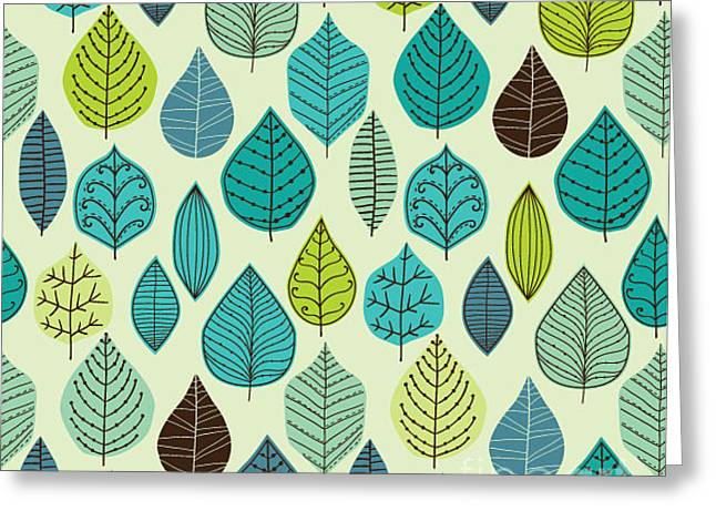 Seamless Pattern On Leaves Theme Greeting Card