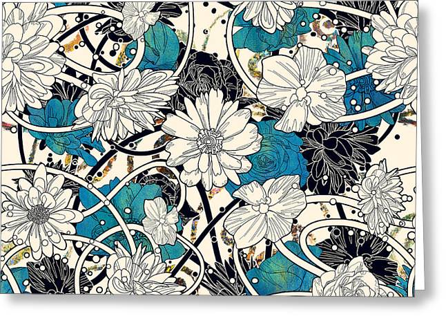 Seamless Pattern With Beautiful Flowers Greeting Card