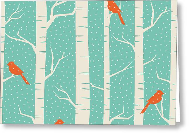 Seamless Pattern With Birches And Birds Greeting Card