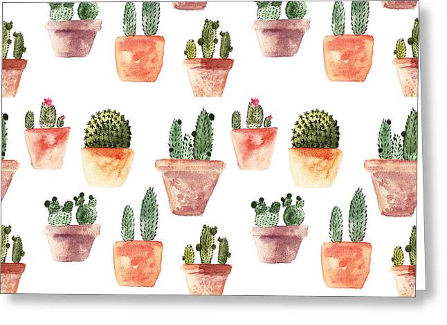 Seamless Pattern With Cactus Greeting Card