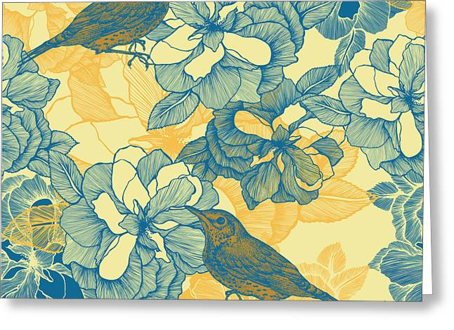 Seamless Pattern With Roses And Bird Greeting Card