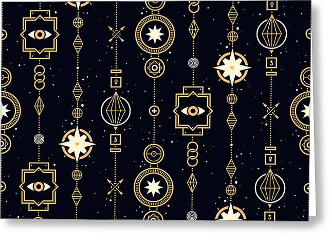 Seamless Pattern With Stars And Magical Greeting Card