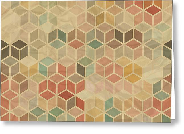 Seamless Retro Geometric Pattern Greeting Card by Incomible