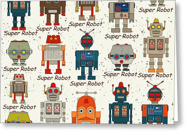 Seamless Robot Pattern,cartoon Vector Greeting Card