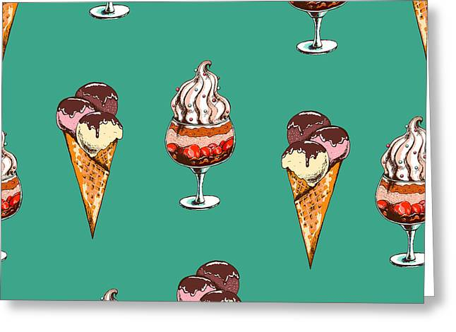 Seamless Sweet Pattern With Ice Cream Greeting Card