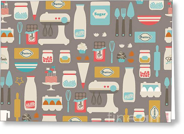 Seamless Vector Pattern. Kitchenfood Greeting Card by Irtsya