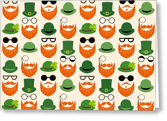 Seamless Vector Pattern With Faces In Greeting Card