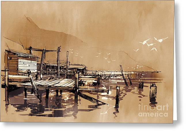 Seascape Painting Showing Pier Of Greeting Card