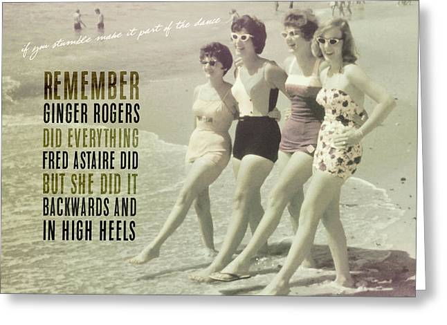 Greeting Card featuring the photograph Seaside Rockettes Quote by JAMART Photography