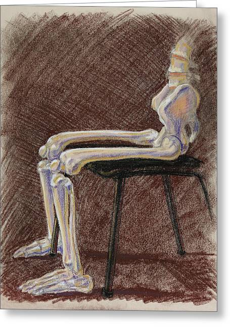 Seated Skeleton Legs And Hips In Pastel  Greeting Card