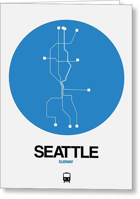 Seattle Blue Subway Map Greeting Card
