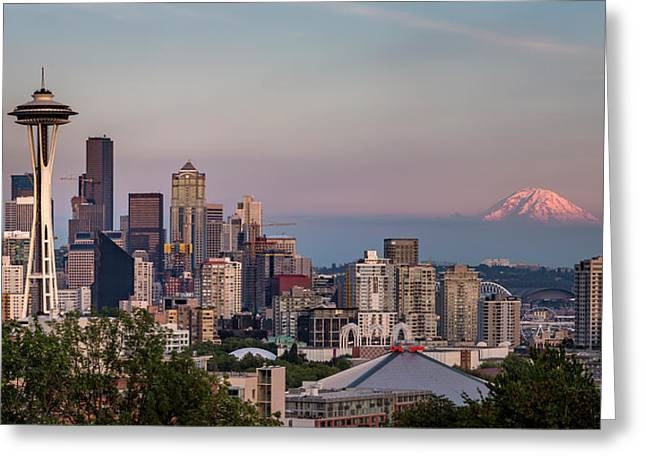 Greeting Card featuring the photograph Seattle Skyline And Mt. Rainier Panoramic by Adam Romanowicz