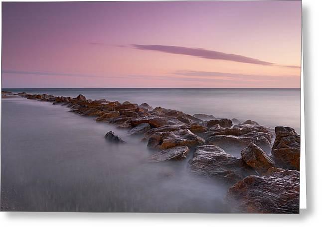 Seawall. Purple Sunset Greeting Card