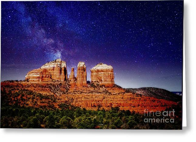 Greeting Card featuring the photograph Sedona After Dark by Scott Kemper