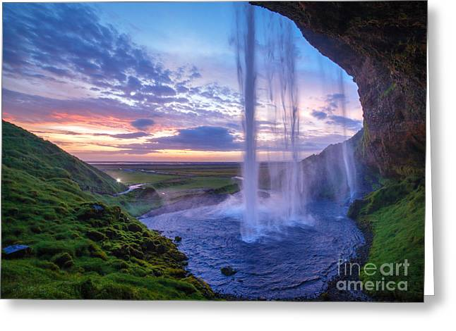 Seljalandfoss Waterfall At Sunset Greeting Card