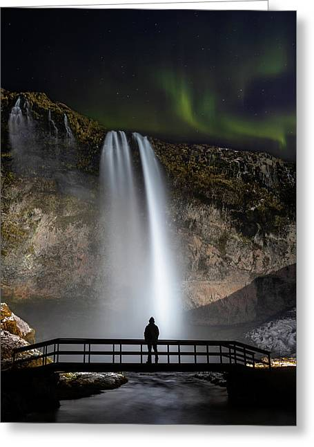 Greeting Card featuring the photograph Seljalandsfoss Northern Lights Silhouette by Nathan Bush