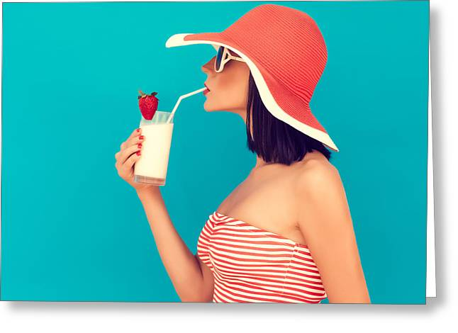 Sensual Girl With A Summer Cocktail Greeting Card