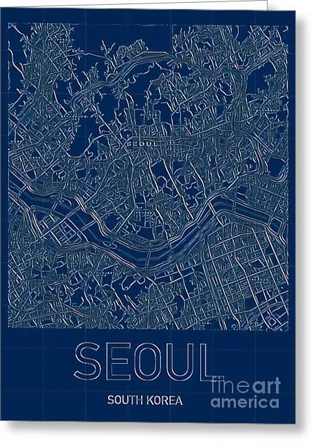 Seoul Blueprint City Map Greeting Card