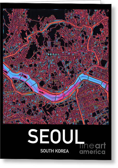 Seoul City Map Greeting Card