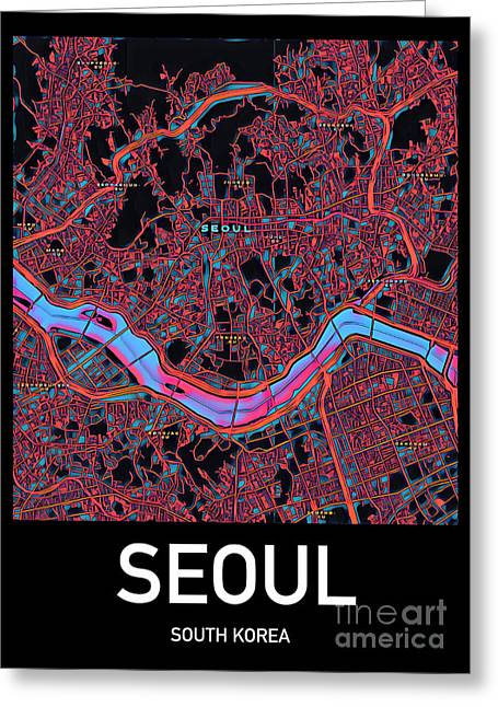 Seoul City Map Greeting Card