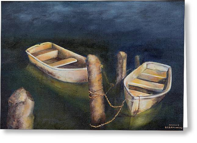 Greeting Card featuring the painting Serenity by Nancy Strahinic