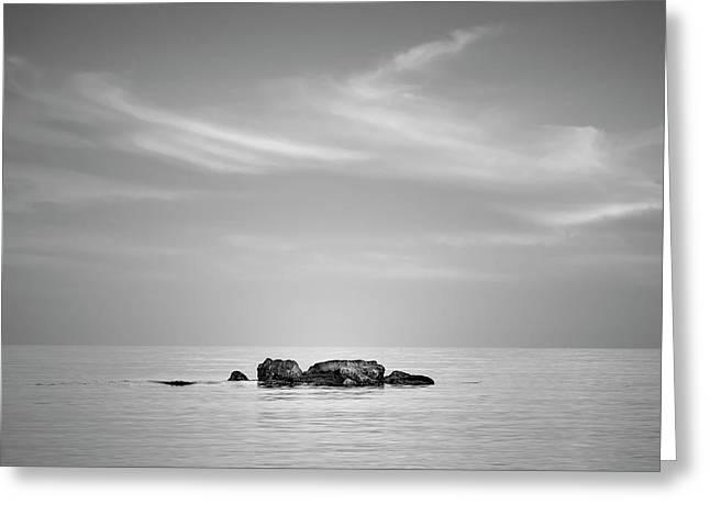 Serenity Sea. Mediterranean. Bw. Square. Greeting Card