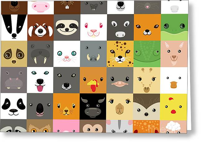 Set Of Cute Simple Animal Faces Greeting Card by Olesia Misty