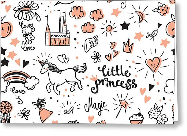 Set Of Doodle Princess And Fantasy Icon Greeting Card