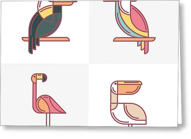 Set Of Vector Exotic Tropical Birds Greeting Card