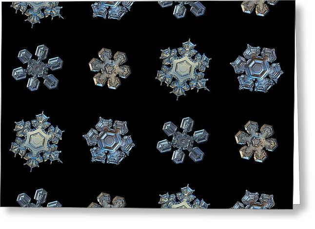 Set With Snowflakes Isolated On Black Greeting Card