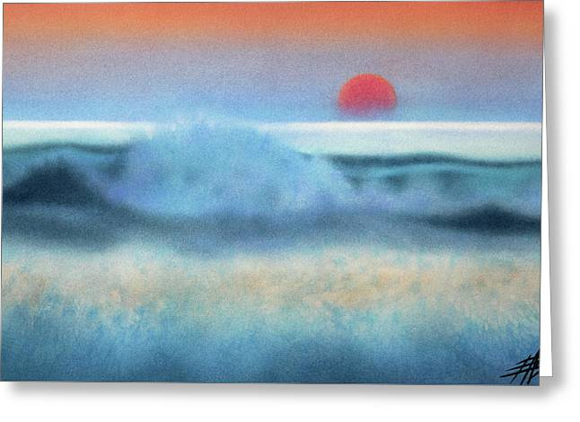 Setting Sun, Waves Of Glass Greeting Card by Robin Street-Morris