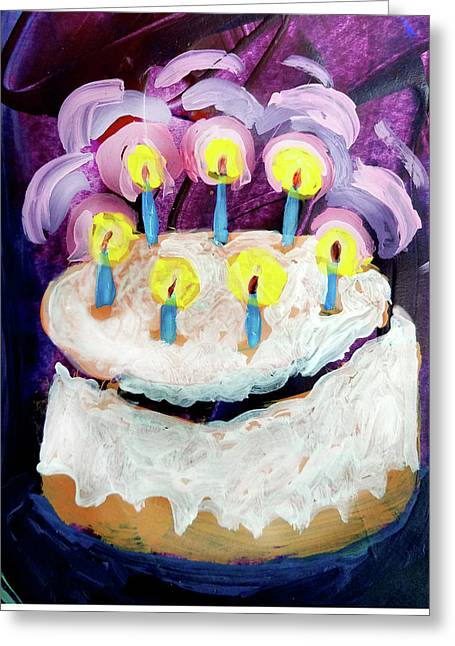 Seven Candle Birthday Cake Greeting Card