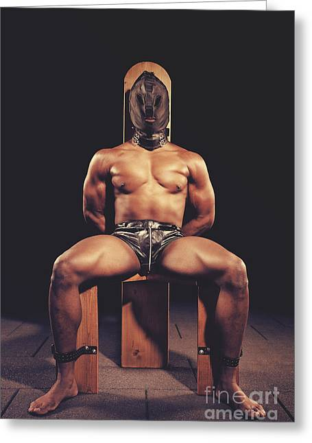 Sexy Man Tiedup On A Bdsm Chair Greeting Card